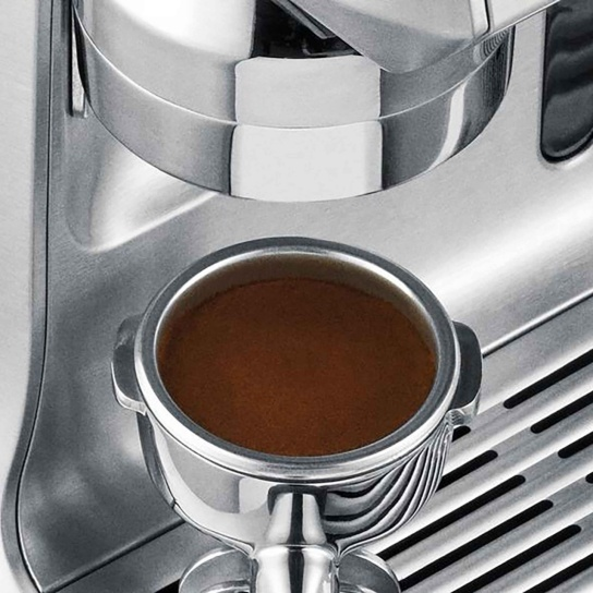 the Oracle® Espresso in Brushed Stainless Steel with portafilter