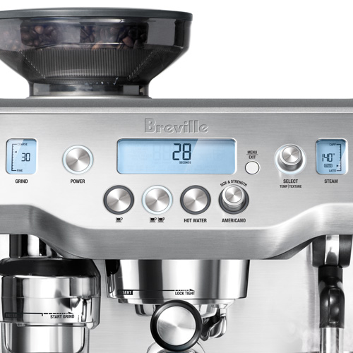 the Oracle® Espresso in Brushed Stainless Steel lcd display