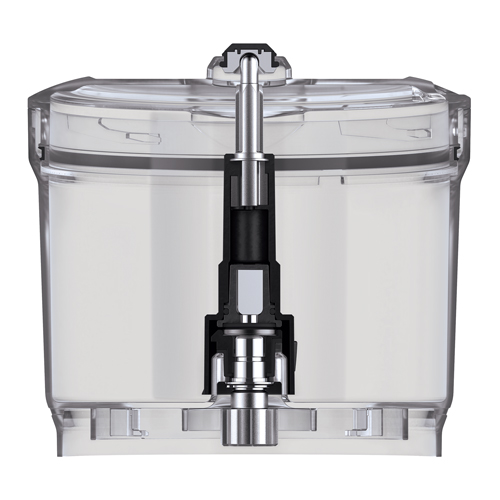 The main food processor compartment with the lid secured on top.