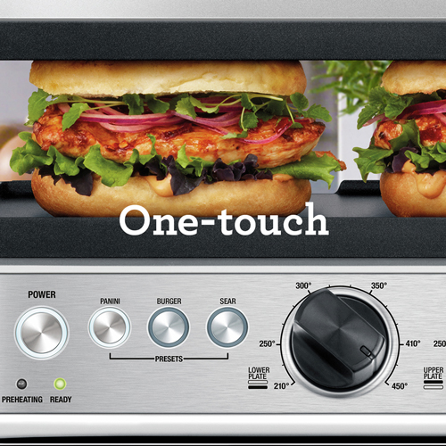 the Sear & Press™ Grill in brushed stainless steel ONE-TOUCH PRESETS