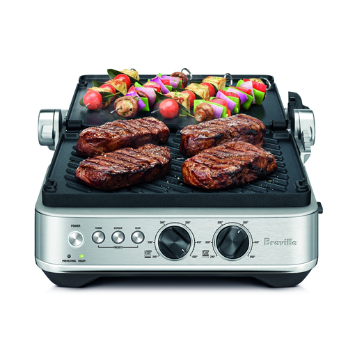 the Sear & Press™ Grill in brushed stainless steel OPEN FLAT BBQ MODE