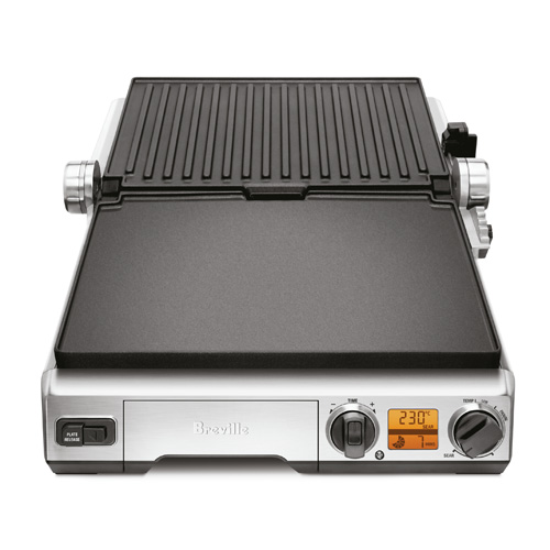 the Smart Grill in Brushed Stainless Steel with dishwasher safe removable plates