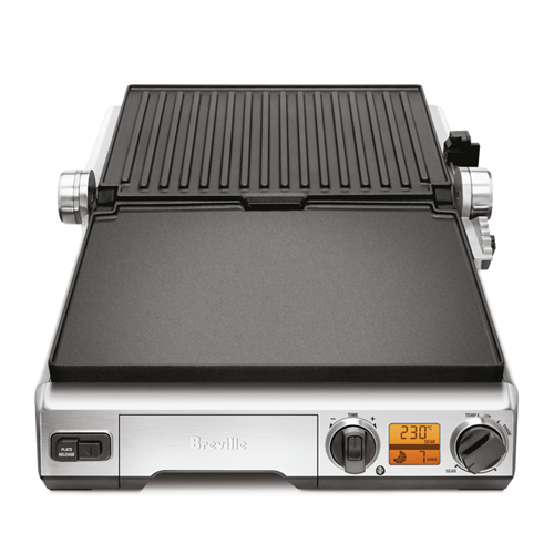 the Smart Grill in Brushed Stainless Steel with open flat BBQ mode