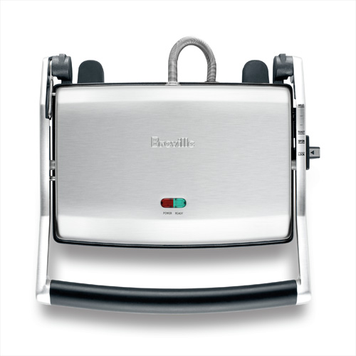 the Panini Duo Sandwich Press in Brushed Stainless Steel with easy upright storage