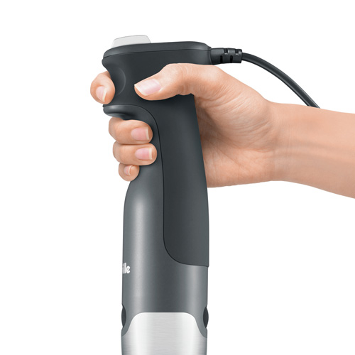 the All in One™ Immersion Blender In Grey ergonomic trigger grip