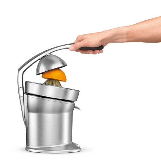 the Citrus Press™ Pro Juicers in Brushed Stainless Steel with juice press arm