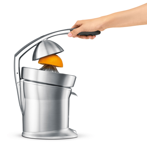 the Citrus Press™ Pro Juicer In Silver juice press arm with dual-switch