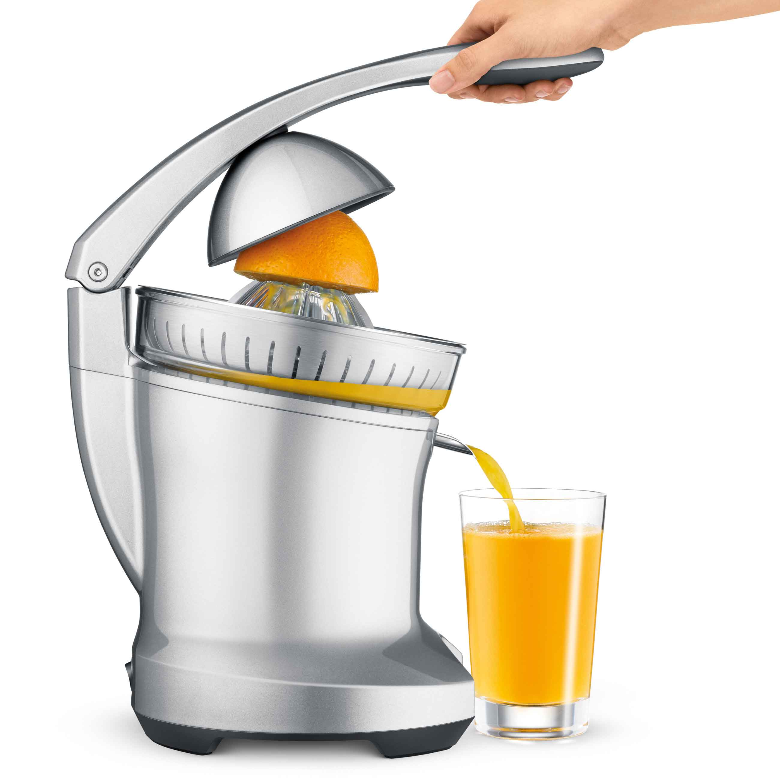 the Citrus Press™ Pro Juicer In Silver with Juice Cup