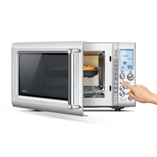 the Breville Quick Touch Crisp Microwave in Brushed Stainless Steel LCD Screen