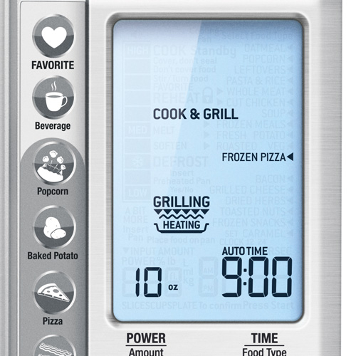 the Breville Quick Touch Crisp Microwave in Brushed Stainless Steel with short cut buttons