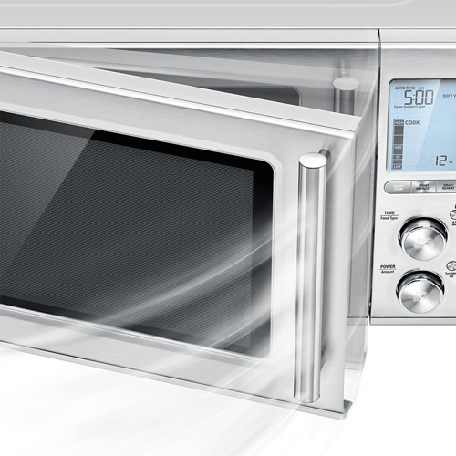 Front view of microwave door opening softly.