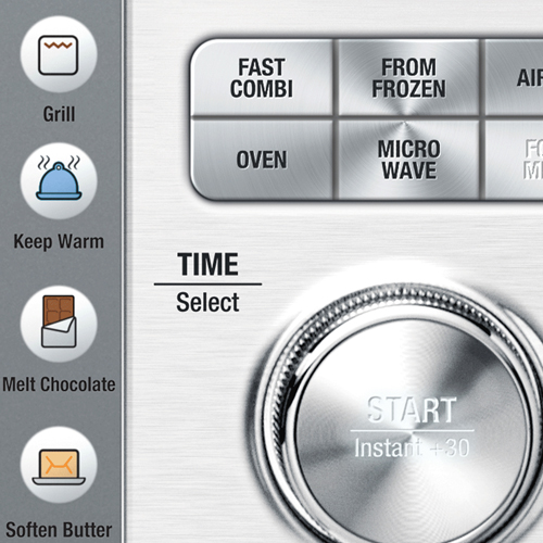 the Combi Wave™ 3 in 1 Microwave in Brushed Stainless Steel with shortcuts & one touch auto settings