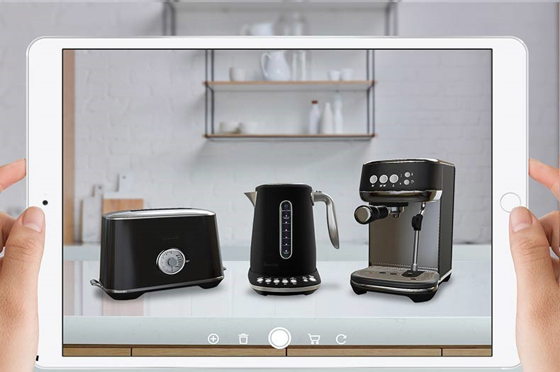 Breville's luxe range products showing as AR images on a tablet device.