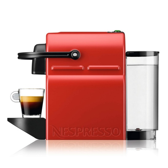 the Inissia Bundle Nespresso Machine in Ruby Red side view