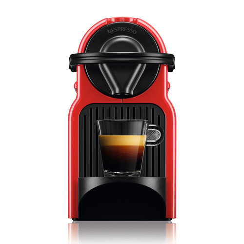 the Inissia Bundle Nespresso Machine in Ruby Red compact and light