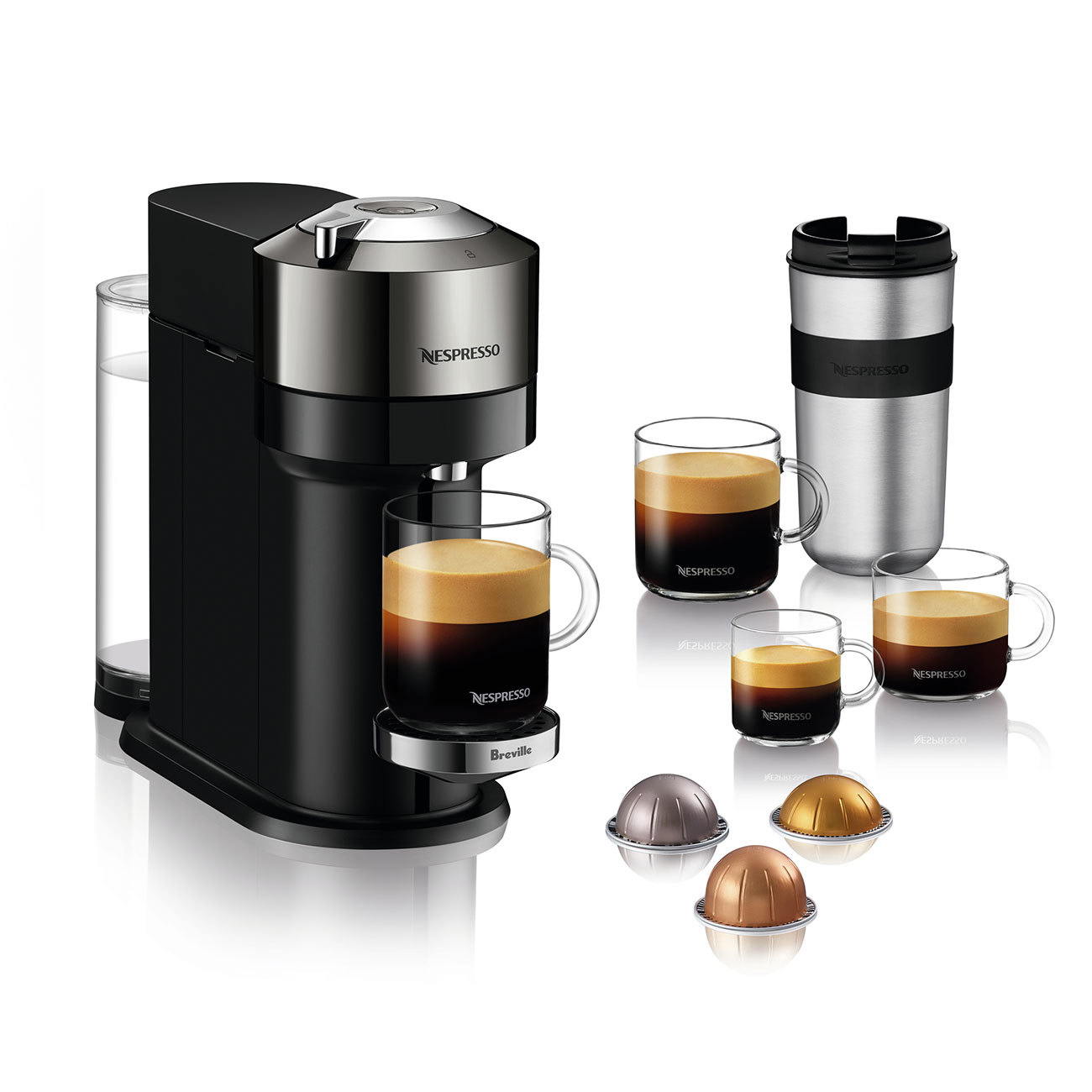 Machine with Black coffee and capsules