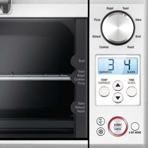 the Mini Smart Oven in Brushed Stainless Steel backlit easy-read LCD