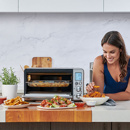 the smart oven air fry in brushed stainless steel settings
