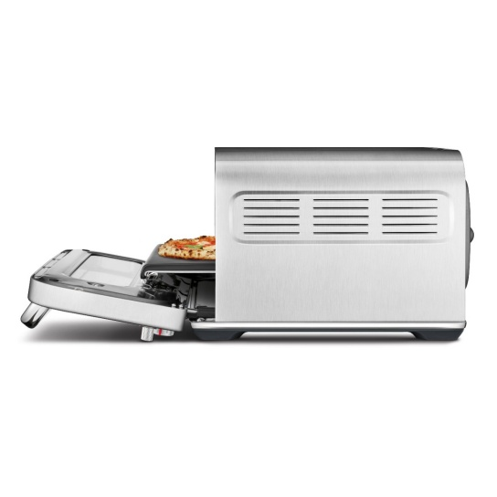 the Smart Oven Pizzaiolo Pizza maker in Brushed Stainless Steel side view open
