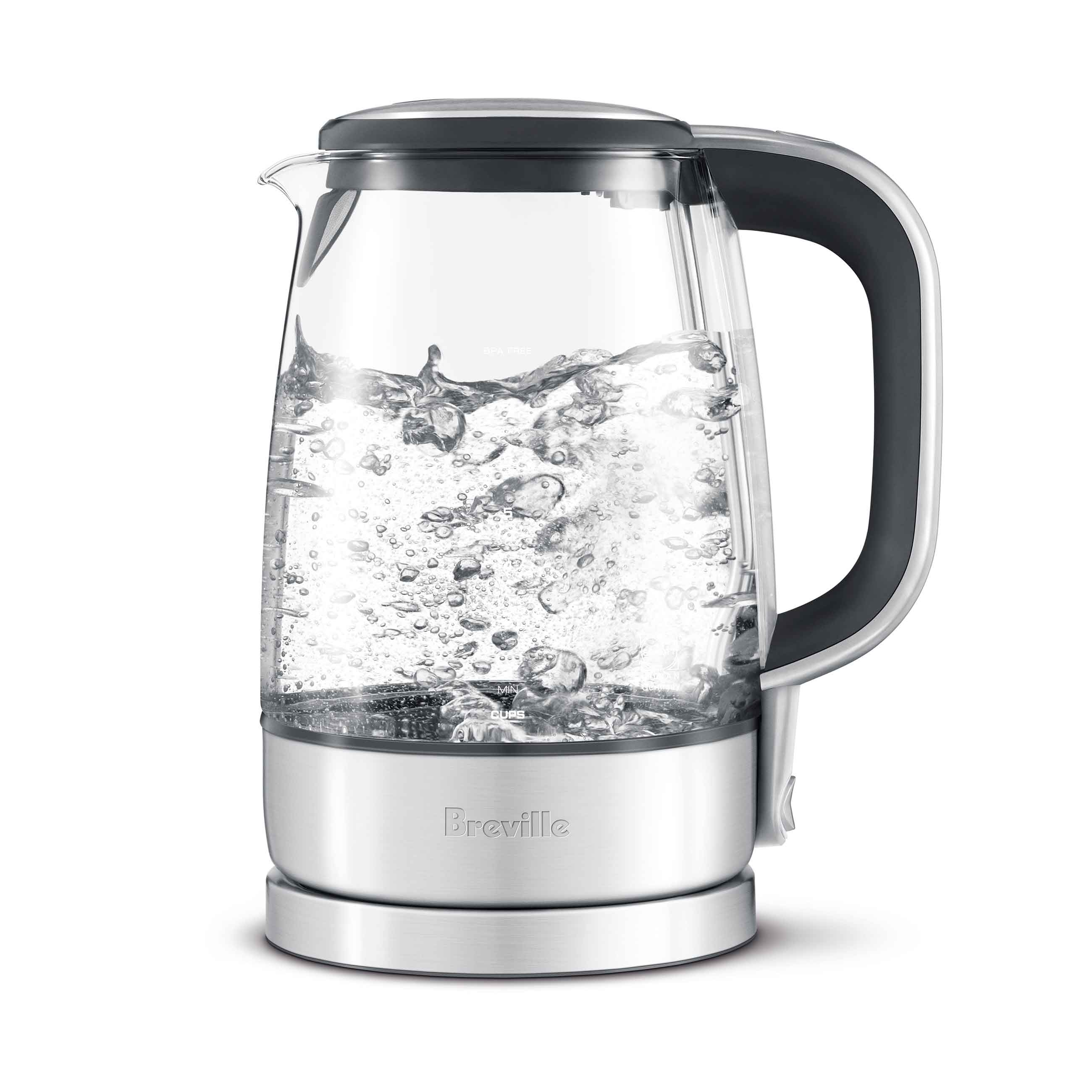 the Crystal Clear™ Tea Machine In Brushed Stainless Steel base with Glass Kettle