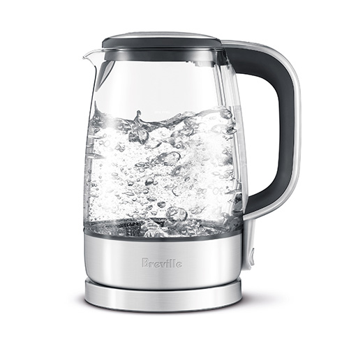 the Crystal Clear™ Tea In Brushed Stainless Steel base with Glass Kettle modern Dura glass