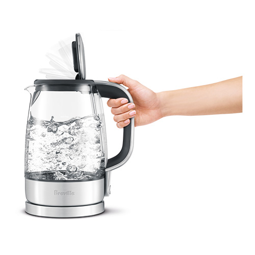 the Crystal Clear™ Tea In Brushed Stainless Steel base with Glass Kettle soft top lid