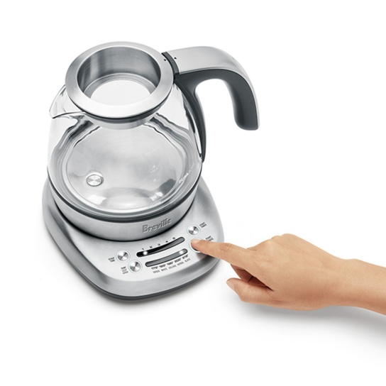 the Breville Smart Tea Infuser Compact in Brushed Stainless Steel side view