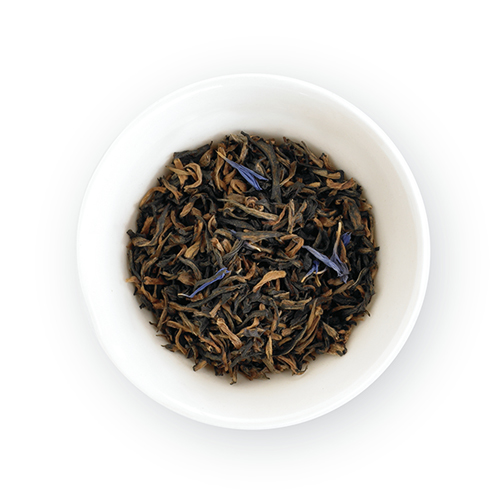 Top view of loose leaf tea in container.