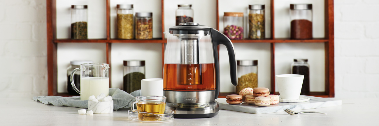 the Breville Smart Tea Infuser™ Tea In Brushed Stainless Steel with glass kettle