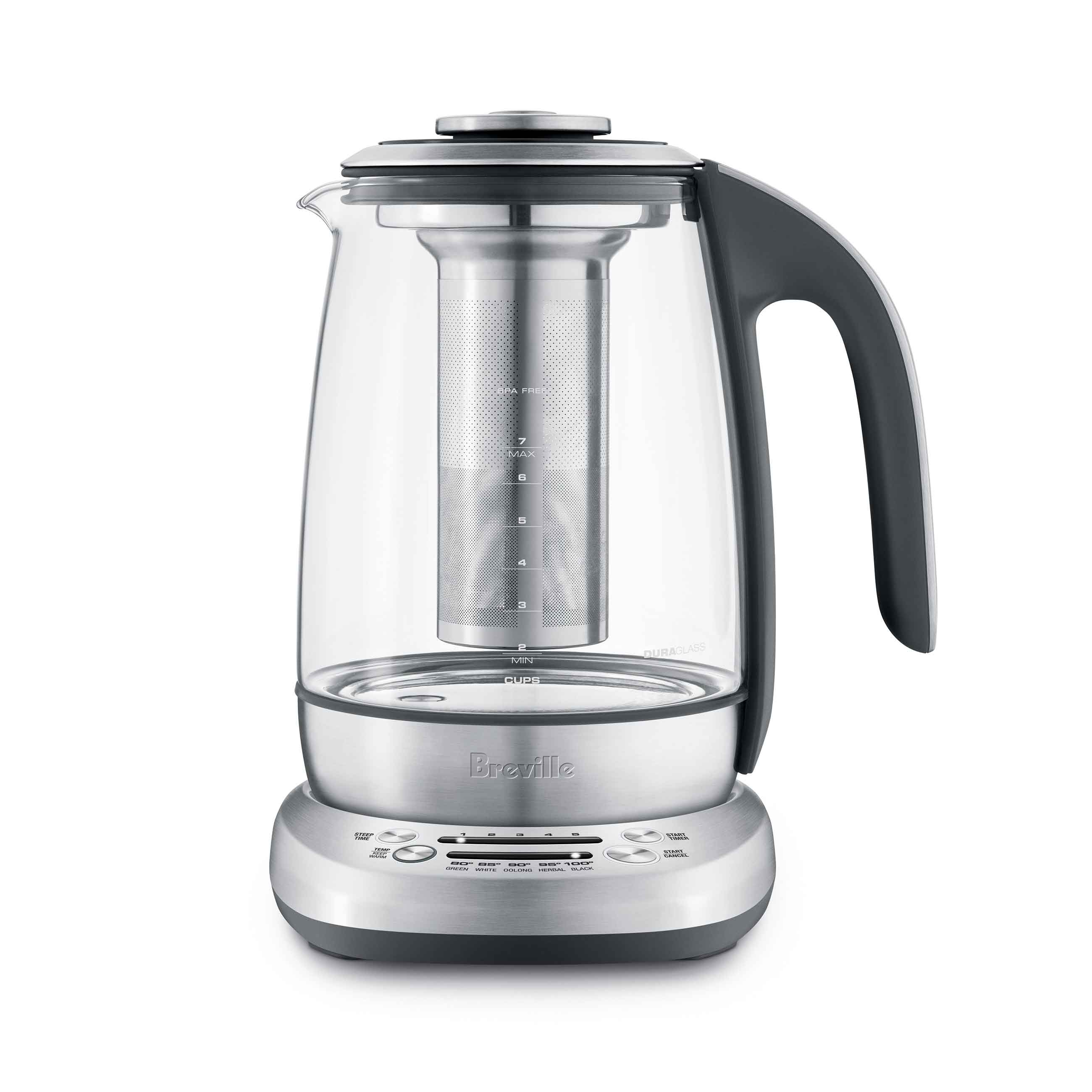 the Breville Smart Tea Infuser™ Tea In Brushed Stainless Steel with glass kettle hot water boiler