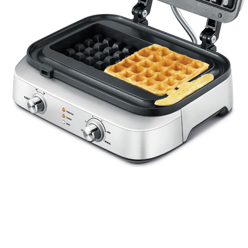 the Smart Waffle 2 Slice Waffle Maker in Brushed Stainless Steel with no mess moat