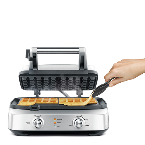 the Smart Waffle 4 Slice Waffle Maker in Brushed Stainless Steel with non-stick surface