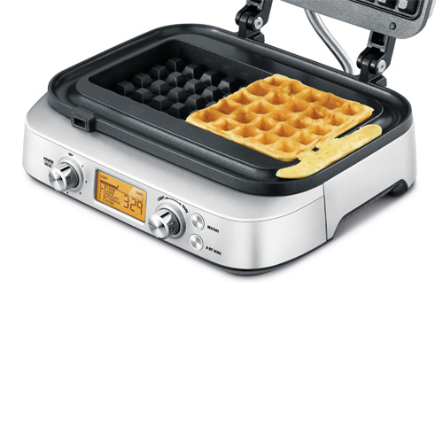 the Smart Waffle Pro 2 Slice Waffle Maker in Brushed Stainless Steel with no mess moat