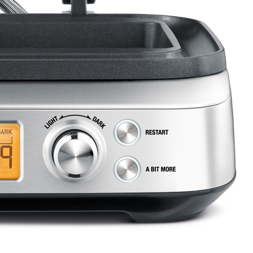 the Smart Waffle Pro 2 Slice Waffle Maker in Brushed Stainless Steel with a bit more button