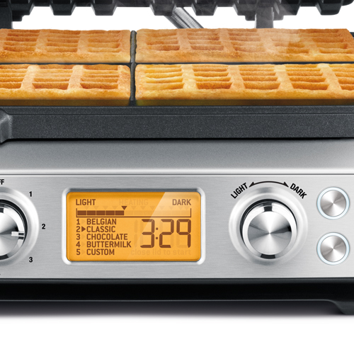 the Smart Waffle™ Pro 4 Slice Waffle Maker In Brushed Stainless Steel browning control
