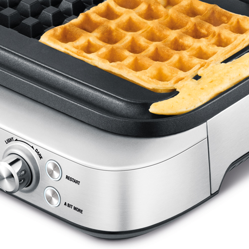 the Smart Waffle™ Pro 4 Slice Waffle Maker In Brushed Stainless Steel no mess moat