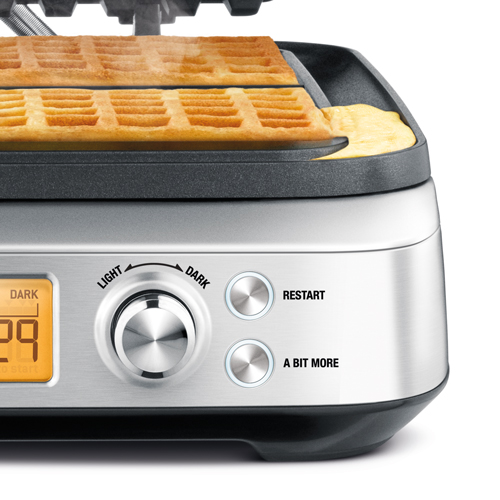the Smart Waffle™ Pro 4 Slice Waffle Maker In Brushed Stainless Steel a bit more button