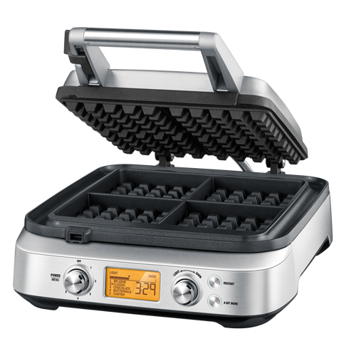 the Smart Waffle™ Pro 4 Slice Waffle Maker In Brushed Stainless Steel non-stick surface
